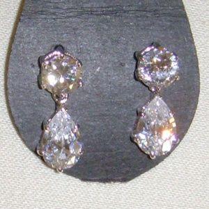 Silver-Tone and Cubic Zirconia Tear-Drop Earrings